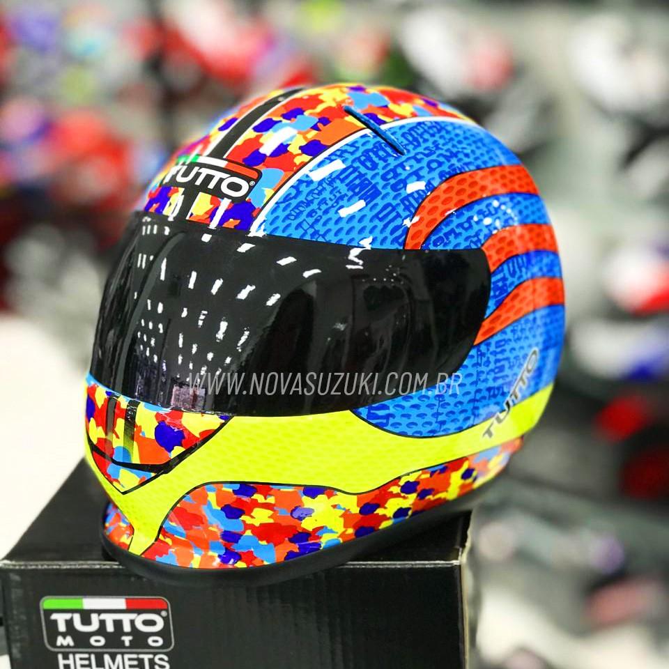Cofrinho Capacete Tutto Moto Multicolor - Miniatura Capacete - Super Queima  - Nova Suzuki Motos e Acessórios