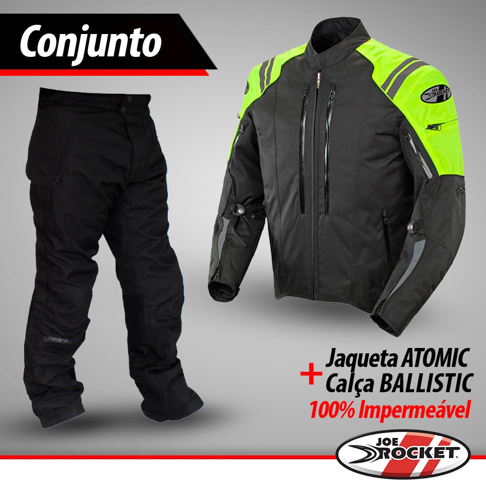 Conjunto Jaqueta Joe Rocket Atomic Amarelo + Calça Ballistic - 100% Impermeáveis.  - Nova Suzuki Motos e Acessórios