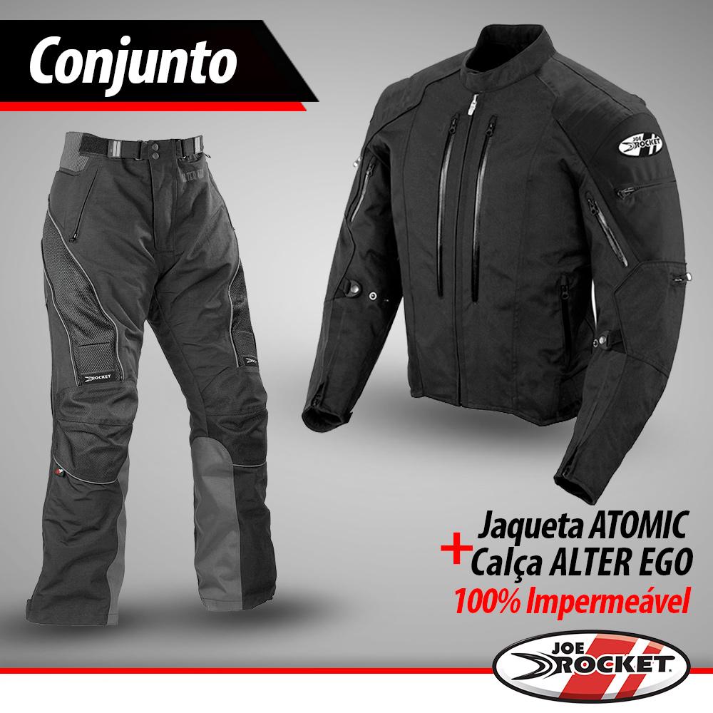 Conjunto Jaqueta Joe Rocket Atomic Preto + Calça Alter Ego - 100% Impermeáveis.  - Nova Suzuki Motos e Acessórios