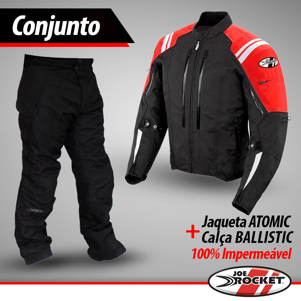 Conjunto Jaqueta Joe Rocket Atomic Vermelho + Calça Ballistic - 100% Impermeáveis.  - Nova Suzuki Motos e Acessórios