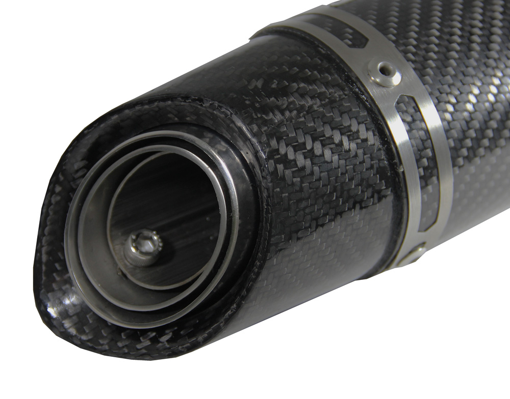 Escapamento Jeskap GP Carbon Alumínio 25CM Suzuki Varias (Alum. Preto/ Carbono)  - Nova Suzuki Motos e Acessórios