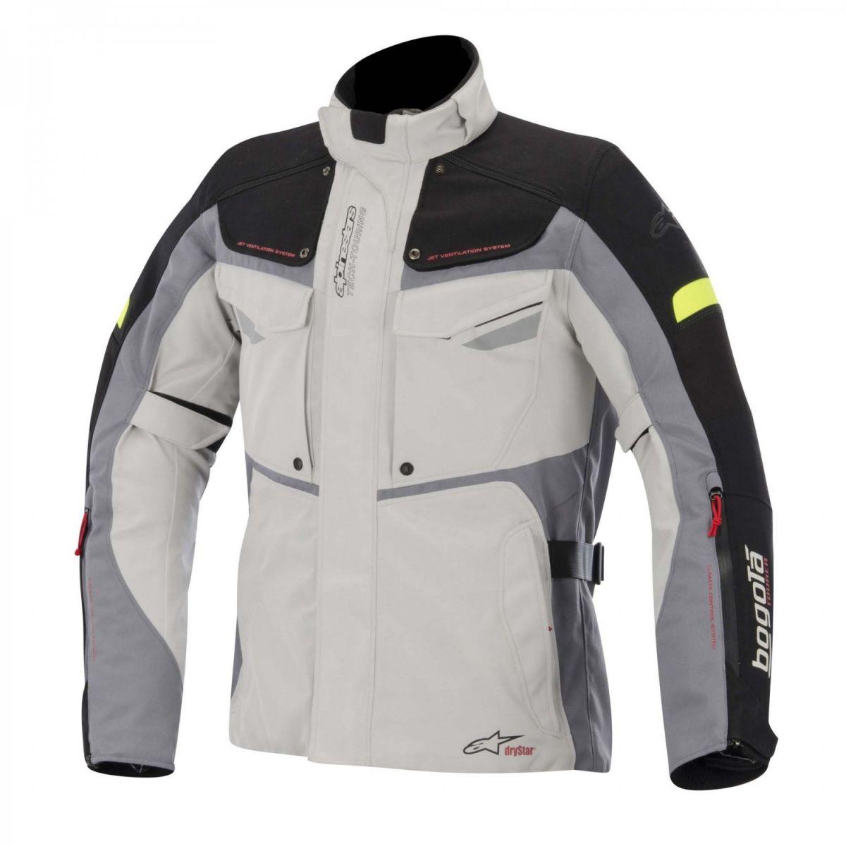 Jaqueta Alpinestars Bogotá Drystar® Cinza/Amarelo Parka  - Nova Suzuki Motos e Acessórios
