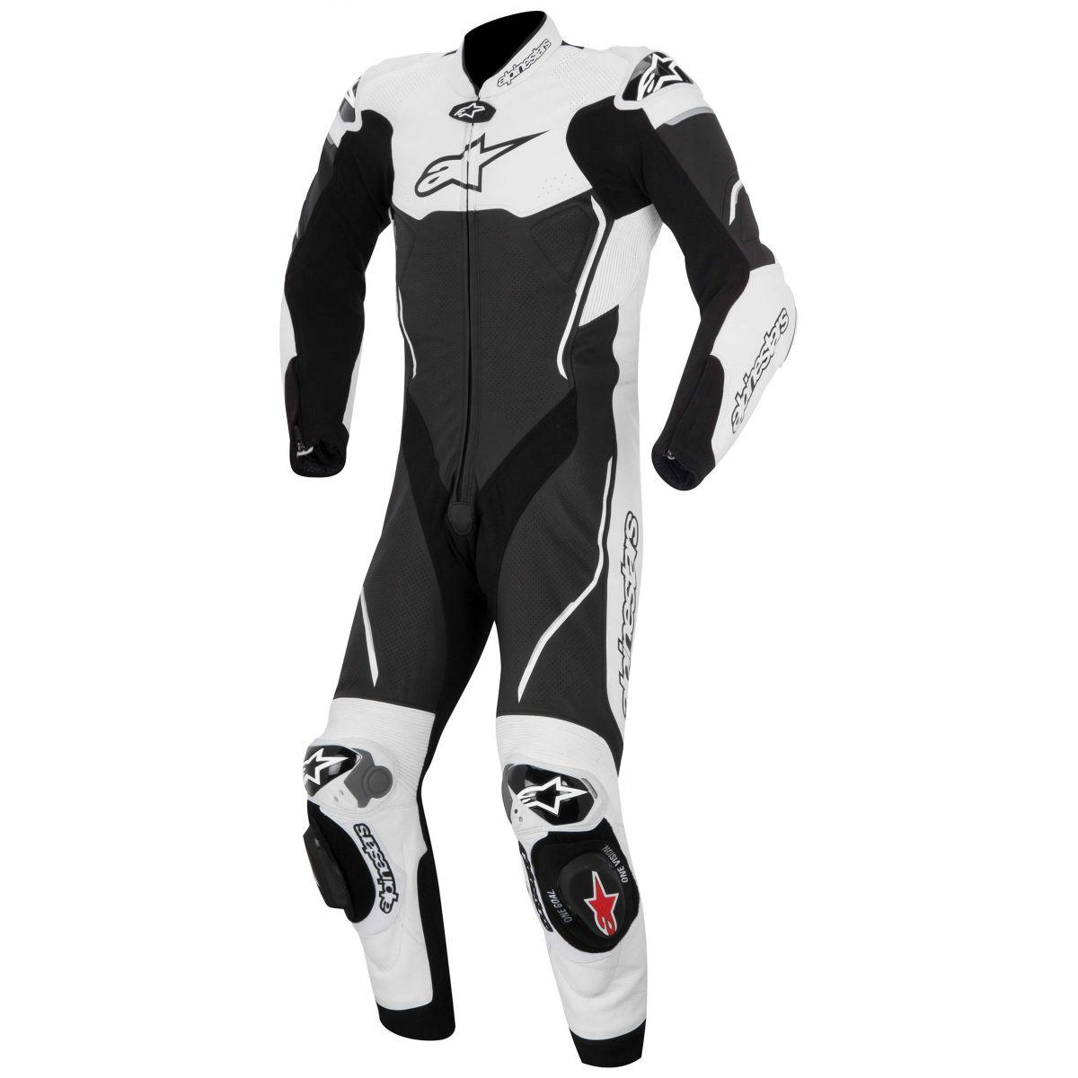 Macacão Alpinestars Atem 1 pçs (Black/White)  - Nova Suzuki Motos e Acessórios
