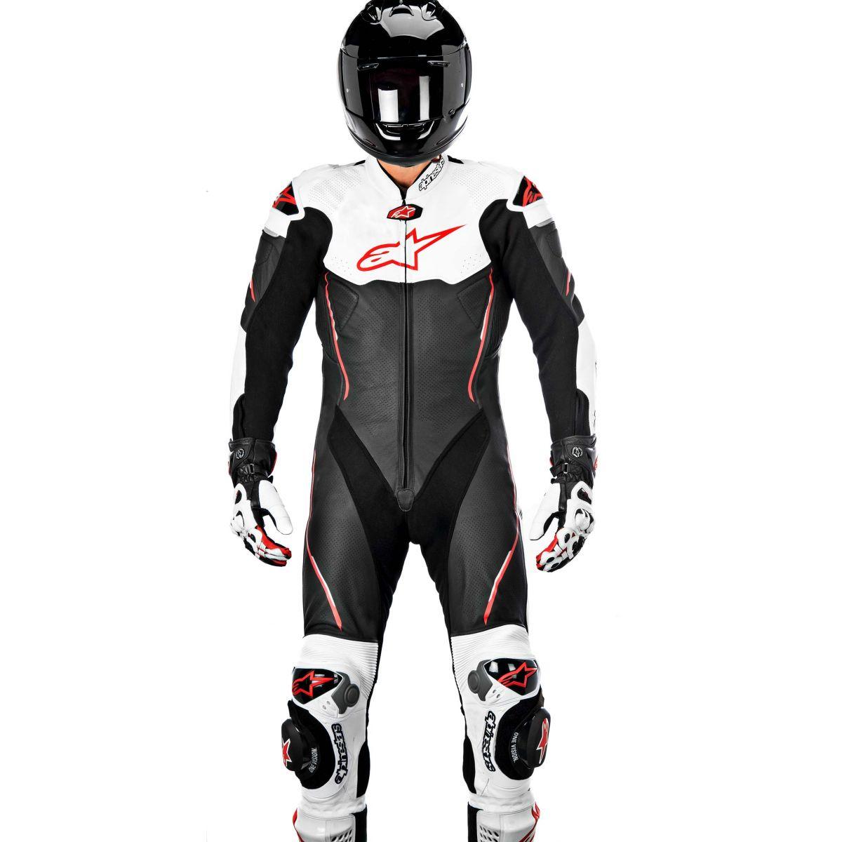Macacão Alpinestars Atem 1 pçs (Black/White/Red)  - Nova Suzuki Motos e Acessórios