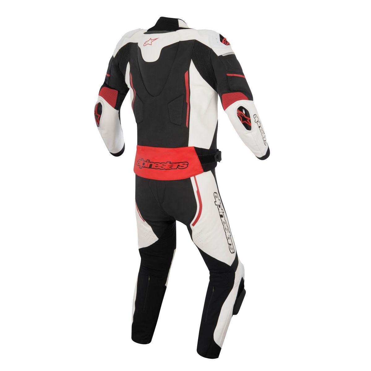 Macacão Alpinestars Atem Combi 2 pçs (Black/red/white)  - Nova Suzuki Motos e Acessórios