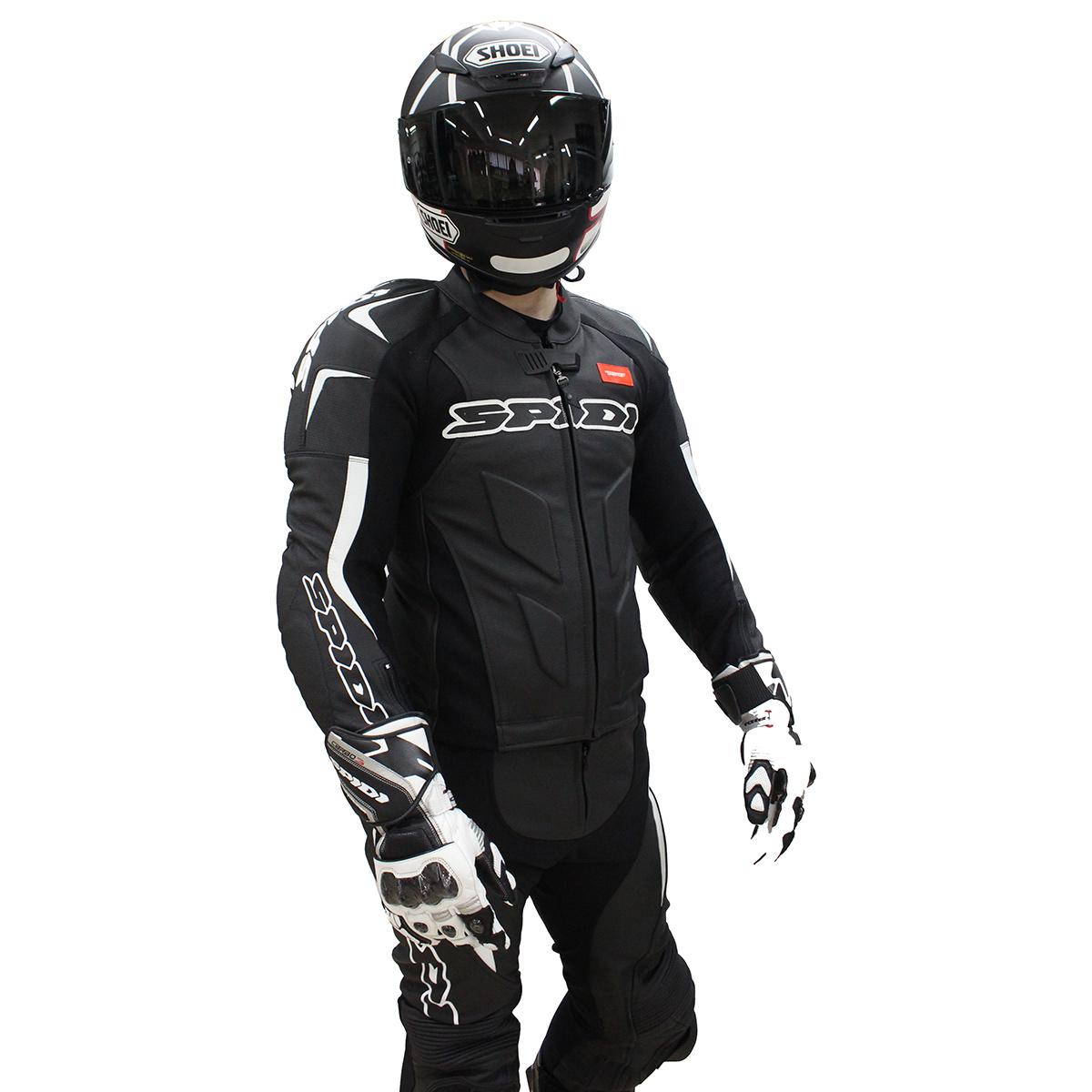 Macacão Spidi Super Sport Touring Preto c/ Branco XP5  - Nova Suzuki Motos e Acessórios