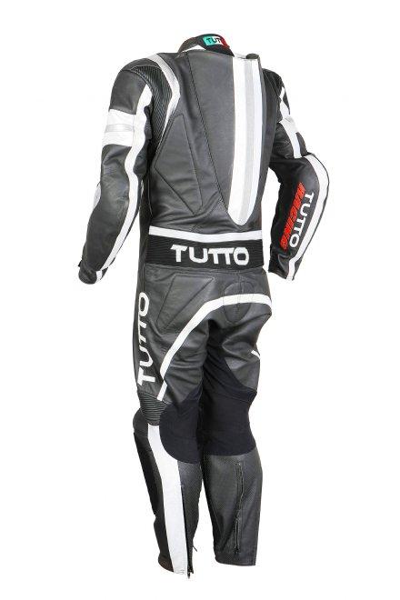 Macacão Tutto Moto Racing 1 pç Branco c/ Prata - GANHE Protetor de Coluna Tutto Combat  - Nova Suzuki Motos e Acessórios
