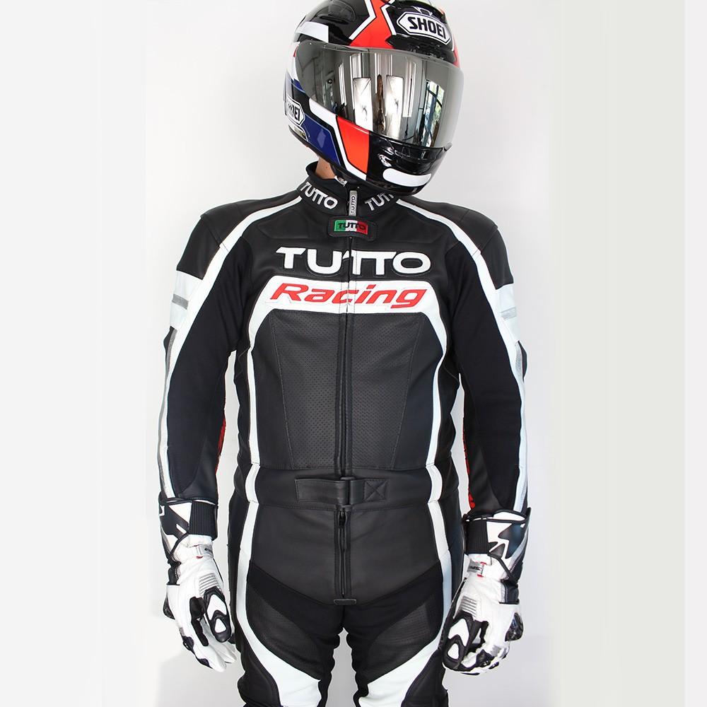 Macacão Tutto Moto Racing 2 pçs Branco c/ Prata - GANHE Protetor de Coluna Tutto Combat - Super Queima  - Nova Suzuki Motos e Acessórios