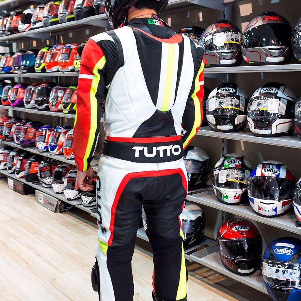 Macacão Tutto Moto Racing 2 pçs Preto/Branco/Vermelho/Amarelo NOVO!  - Nova Suzuki Motos e Acessórios
