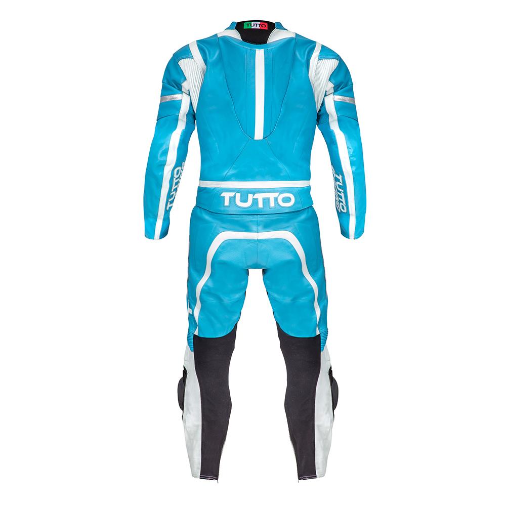 Macacão Tutto Moto Racing 2 pçs Soft Azul Claro - GANHE Protetor de Coluna Tutto Combat - Super Queima  - Nova Suzuki Motos e Acessórios