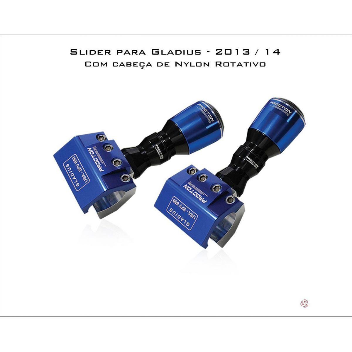 Slider Dianteiro Procton com Amortecimento Gladius 13/14 (NYLON ROTATIVO)  - Nova Suzuki Motos e Acessórios