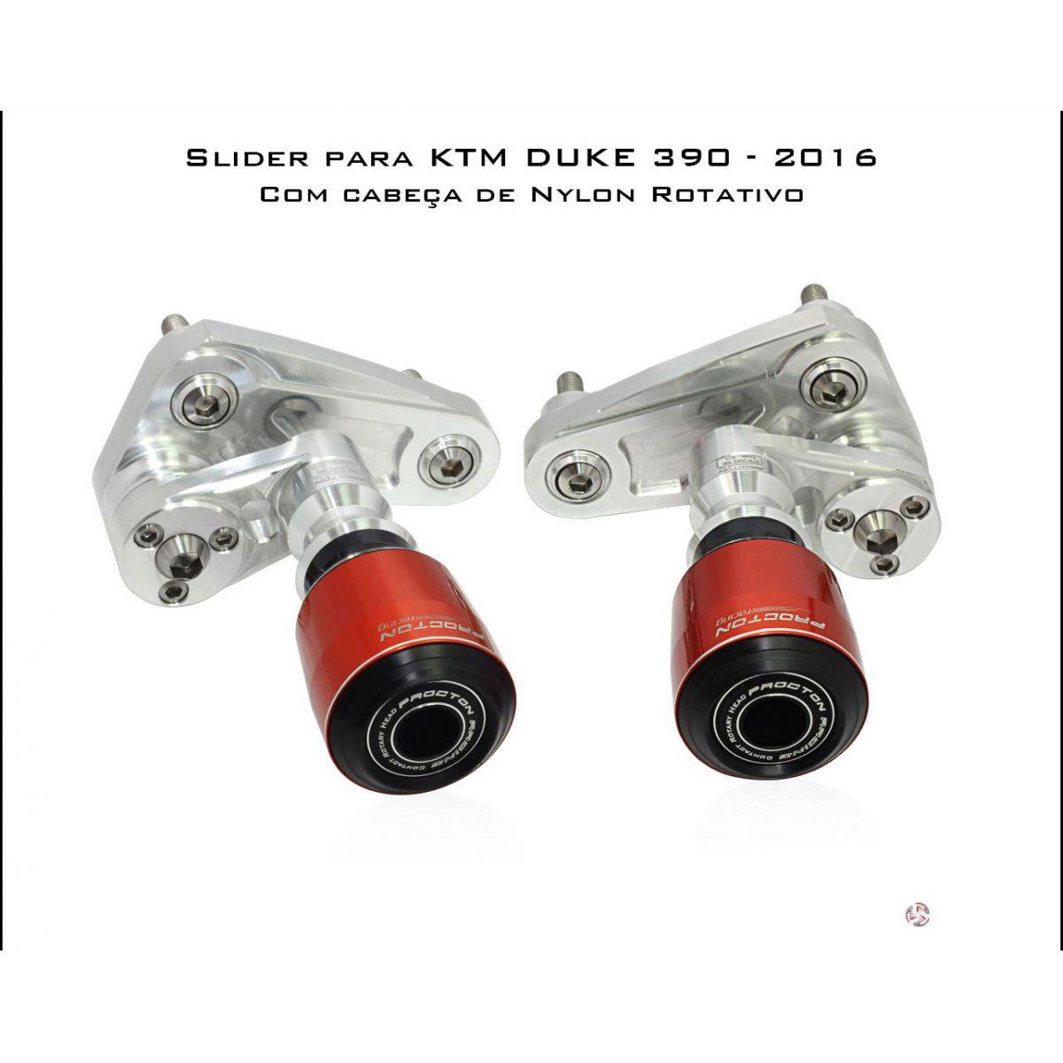 Slider Dianteiro Procton com Amortecimento p/ DUKE 200/390 - 15/17 ( NYLON ROTATIVO)  - Nova Suzuki Motos e Acessórios