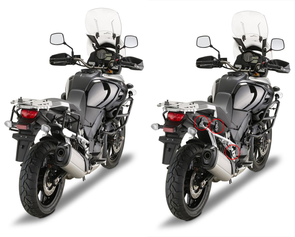 Suporte Lateral PLR3105 Givi (E21 e E22/E41/E360/TREKKER) - Engate rápido - V-Strom 1000 14/15  - Nova Suzuki Motos e Acessórios