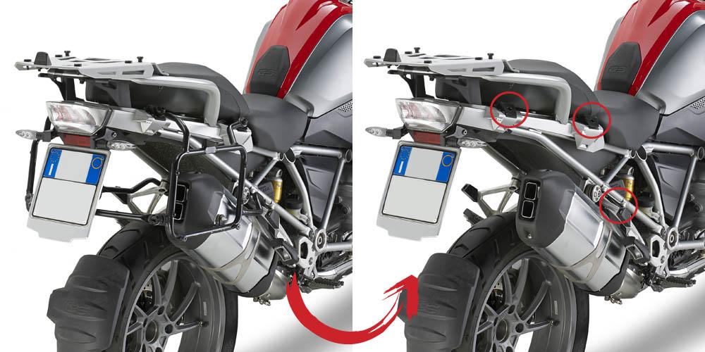 Suporte Lateral PLR5108 Givi para BMW R1200GS 13/18 e Adv 14/17 (Baús E21 / E41 / E360 / TREKKER) Pronta Entrega  - Nova Suzuki Motos e Acessórios