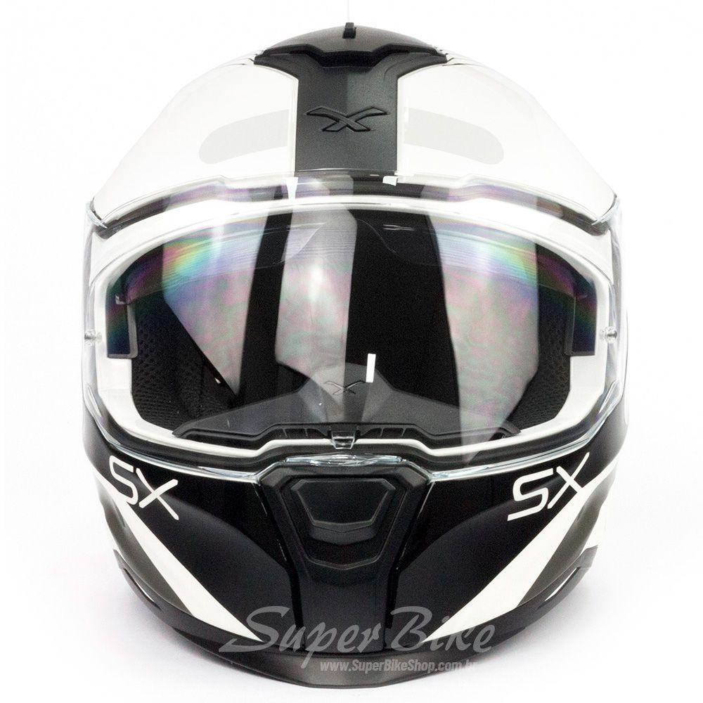 Capacete Nexx SX100 PopUp Branco/Preto c/ Viseira Solar e Pinlock Anti-Embaçante  - Super Bike - Loja Oficial Alpinestars