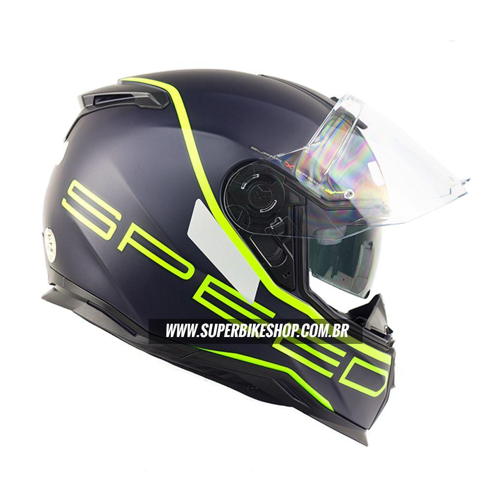 Capacete Nexx SX100 Super Speed Azul/Verde c/ Viseira Solar e Pinlock Anti-Embaçante  - Super Bike - Loja Oficial Alpinestars