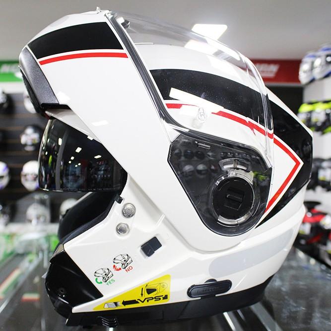 Capacete Nolan N104 Evo Scovery N-Com WHITE/BLACK RED Escamoteável  - Super Bike - Loja Oficial Alpinestars
