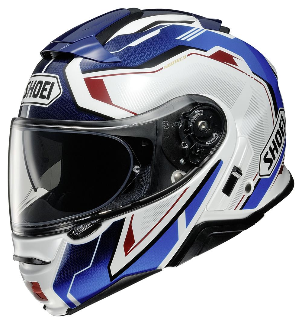 Capacete Shoei Neotec 2 Respect TC-10 Branco/Azul - Escamoteável