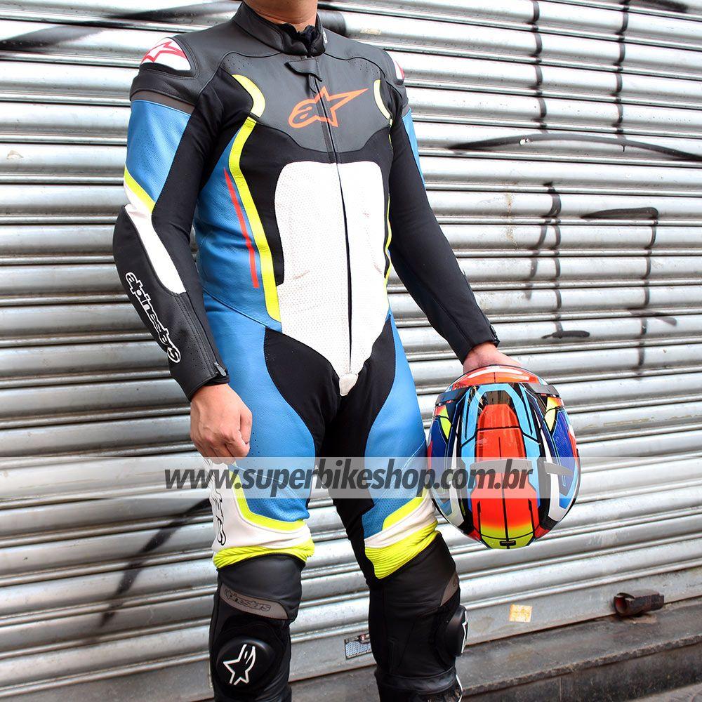 0 Macacão Alpinestars Motegi V2 Preto/Branco/Azul/Amarelo - 1 Peça  - Super Bike - Loja Oficial Alpinestars