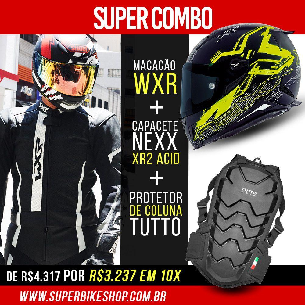 Macacão WXR Preto/Branco - 2 Peças + Capacete Nexx XR2 Acid + Protetor de Coluna Tutto Moto - Ofertaço!  - Super Bike - Loja Oficial Alpinestars