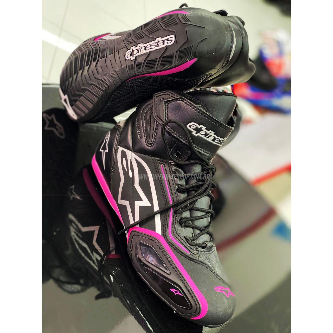 Tênis Alpinestars Stella Faster 2 WP (Feminina) Preto/Rosa - 100% Impermeável  - Super Bike - Loja Oficial Alpinestars