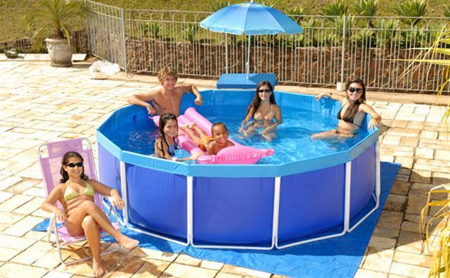 piscina de plastico 4.500 litros circular estrutura dupla mor