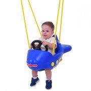 Balanço Infantil Avião Azul Xalingo Com Cordas e Ganchos