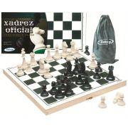 Kit com 4 Jogos de Xadrez 40x40 com estojo em madeira