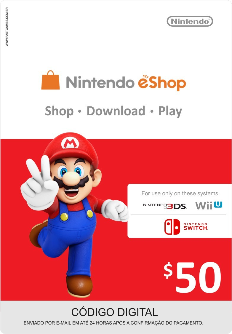 Cartão Nintendo Switch / Wii U / 3DS eShop Cash $50