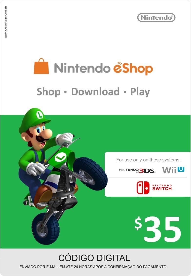 Cartão Nintendo Switch / Wii U / 3DS eShop Cash $35
