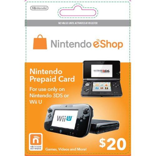 Cartão Nintendo Wii U / 3DS eShop Cash $20