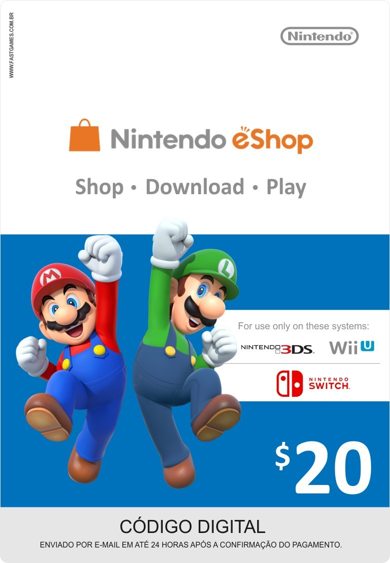 Cartão Nintendo Switch / Wii U / 3DS eShop Cash $20