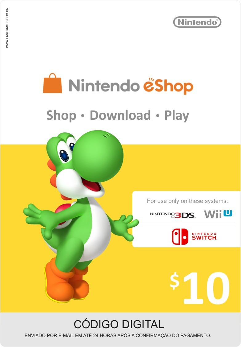 Cartão Nintendo Switch / Wii U / 3DS eShop Cash $10
