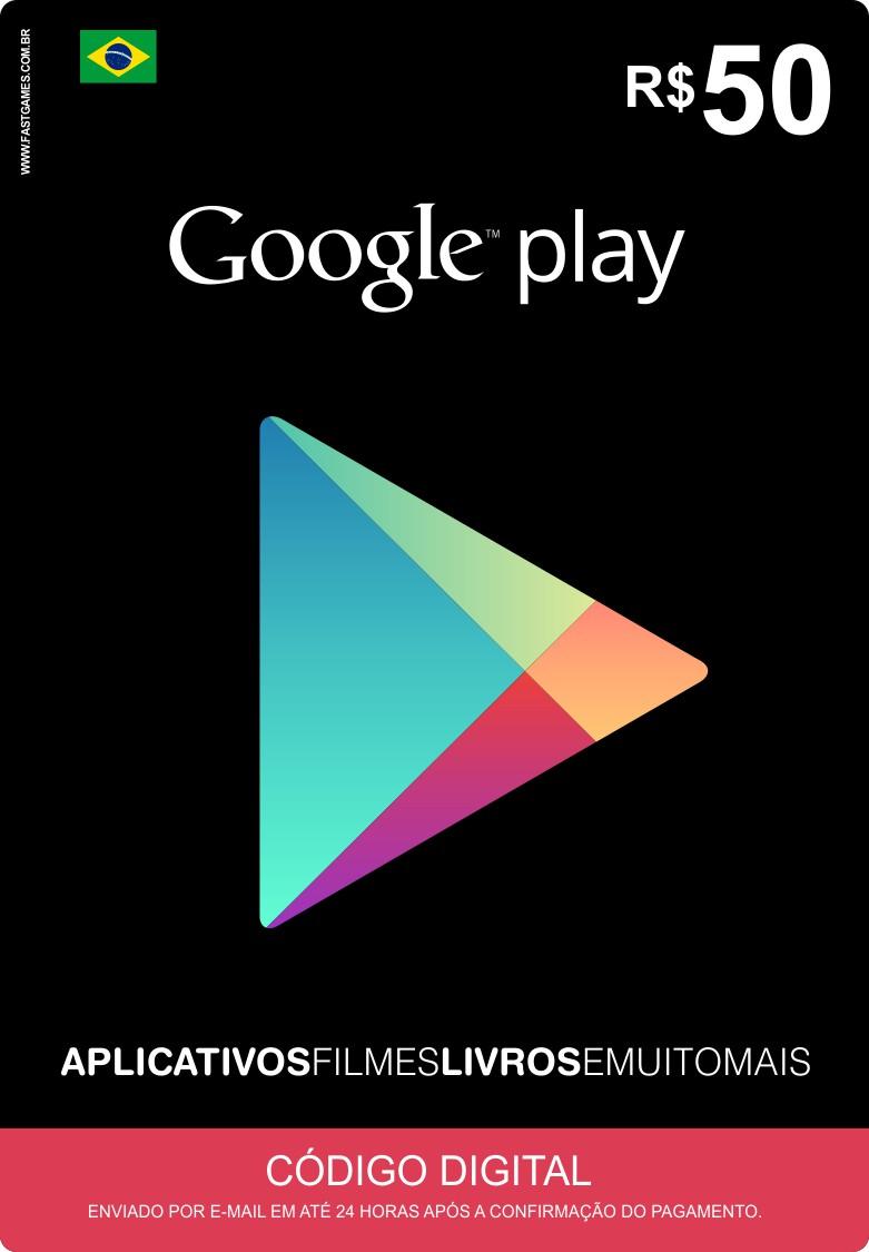Cartão Google Play Brasil R$50  - FastGames