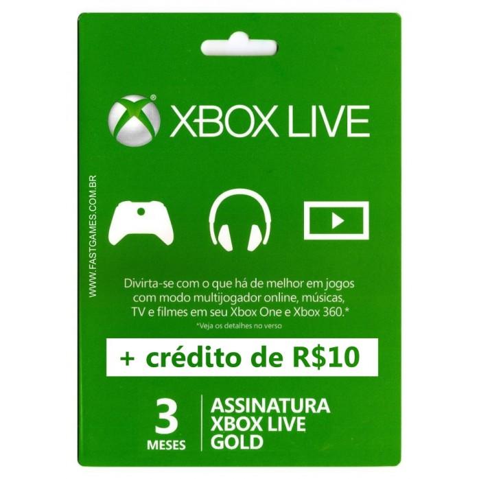 Xbox Live 3 Meses Gold Card + Crédito R$10 (Live Brasil)  - FastGames - Gamers levados a sério