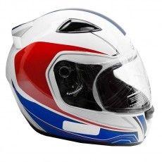 Capacete Moto Ebf E0X Asgard Branco Vermelho e Azul