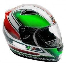 Capacete Moto Azzura EBF E0X Branco e Verde Fechado