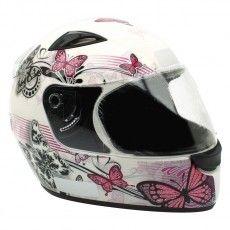Capacete Moto Ebf New Spark Borboletas Branco e Rosa