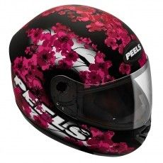 Capacete Moto Peels Spike Blossom Preto Fosco e Magenta