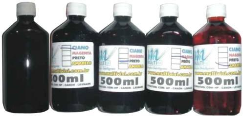 Kit de tintas 5 potes (Magenta, Amarelo, Ciano, Preto e Preto Fotográfico) de 500ml - Total 2,5L