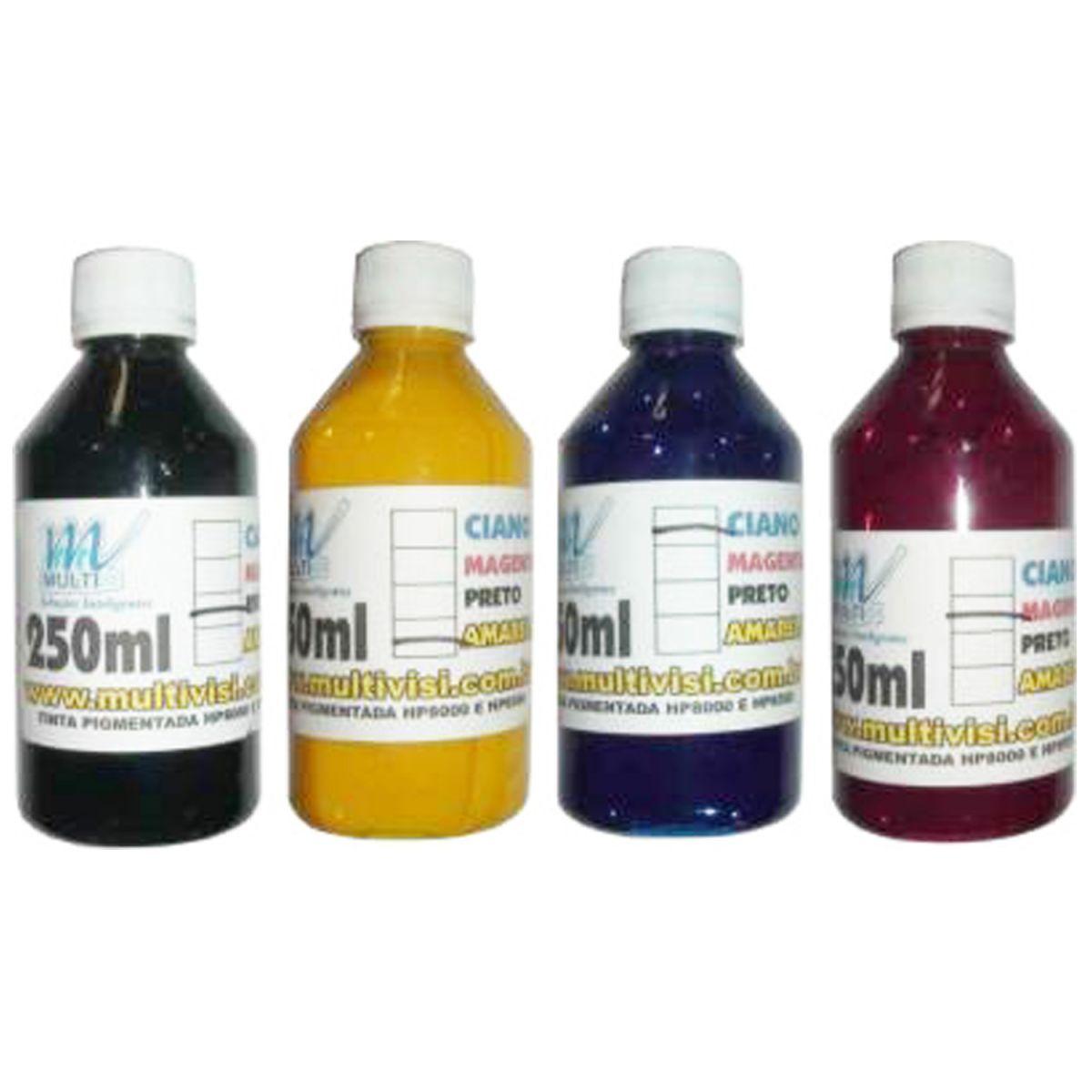Kit Tinta Pigmentada para HP8000 / 8500 / 8600 / 8610 / 7110 250ml de cada cor