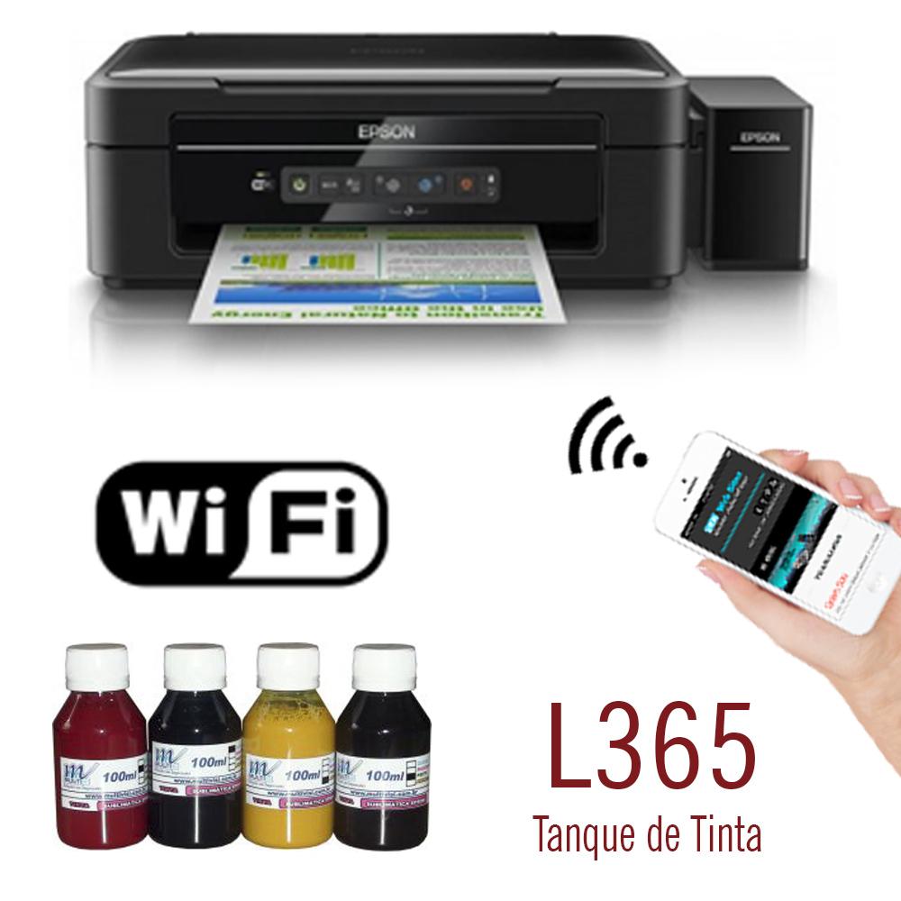 Impressora Epson L365 WiFi Bulk Ink + 400ml Tinta Sublimática