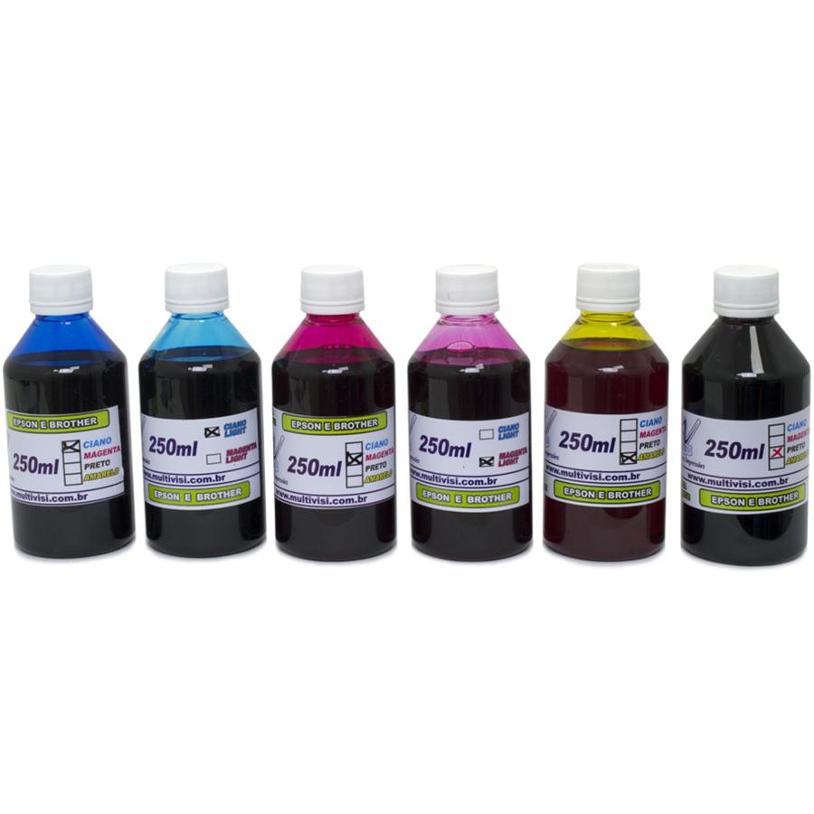Kit 1,5L de tinta Corante para Epson e Brother (250ml de cada cor)