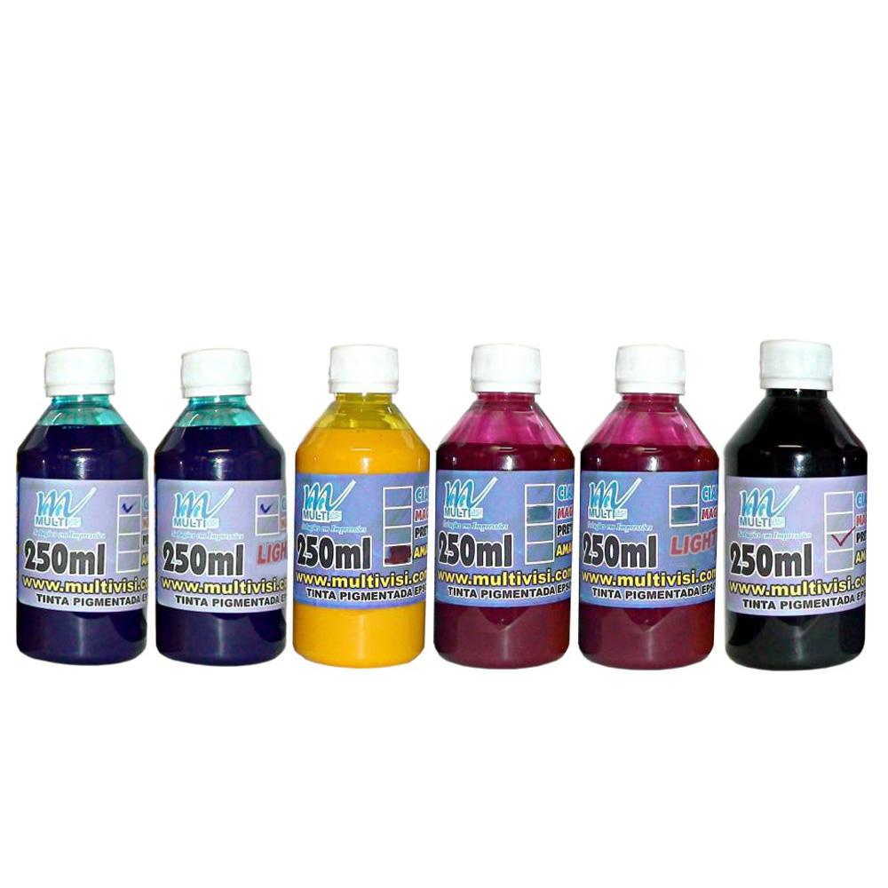 Kit 1,5L de tinta Pigmentada para Epson e Brother (250ml de cada cor)
