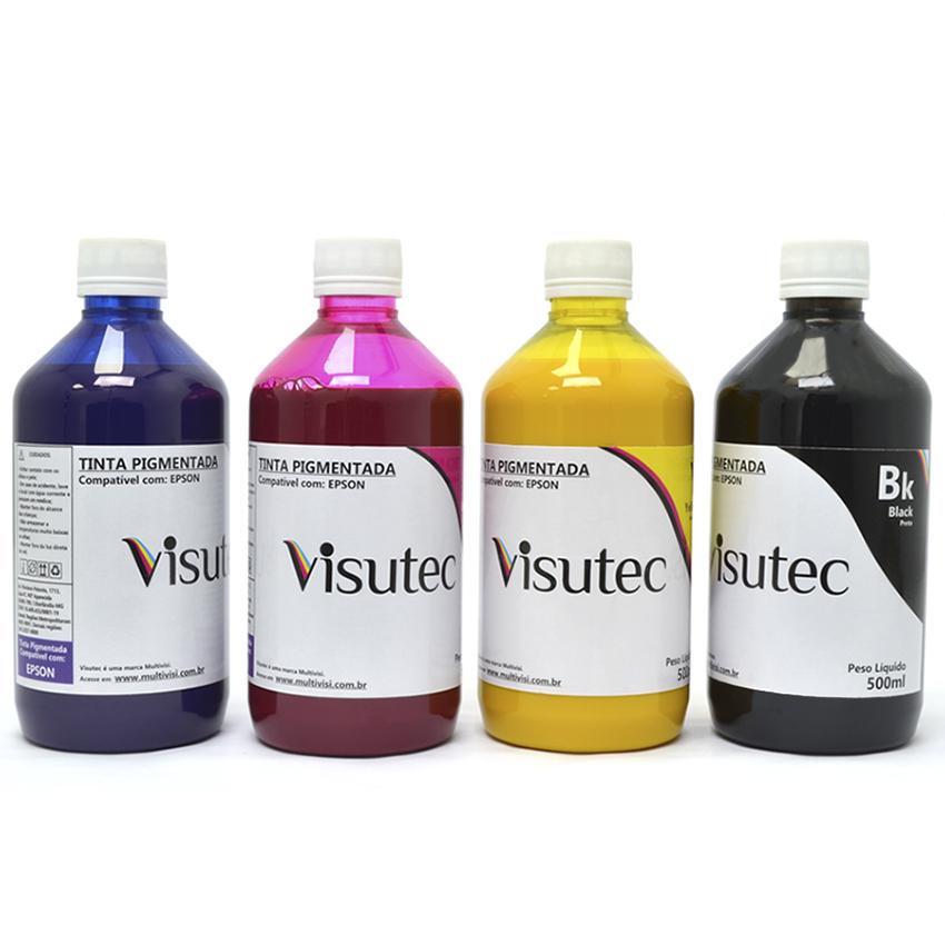 Kit 2L de tinta Pigmentada para Epson e Brother (500ml de cada cor)