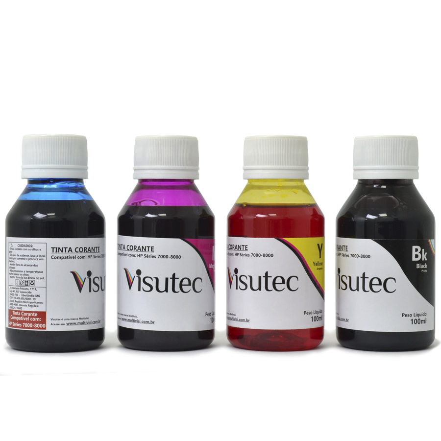 Kit 400ml de tinta corante HP 8000, 8100, 8500 e 8600