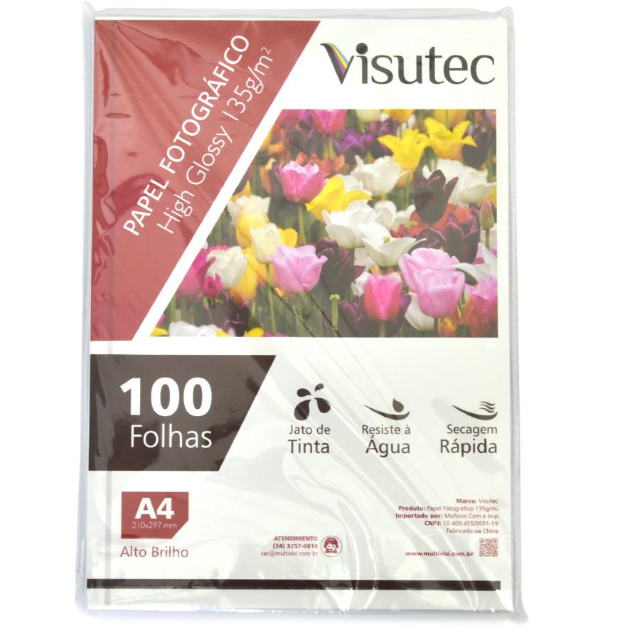 Papel fotográfico Glossy A4 135gr - Pacote com 100 folhas VISUTEC