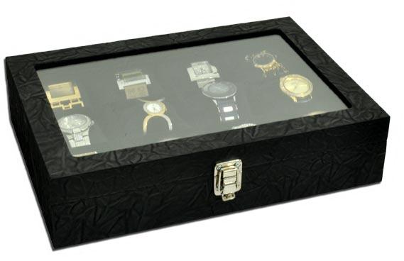 Estojo / Porta relógios para 12 relógios com expositor