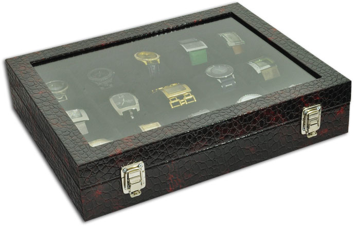 Estojo / Porta relógios para 15 relógios com expositor