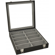 Estojo / Porta óculos para 10 óculos com expositor em vidro - Preto / Cinza